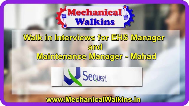 Walk in Interviews for EHS Manager and Maintenance Manager - Mahad