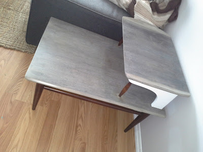 mid century modern side table basset white grey dark walnut