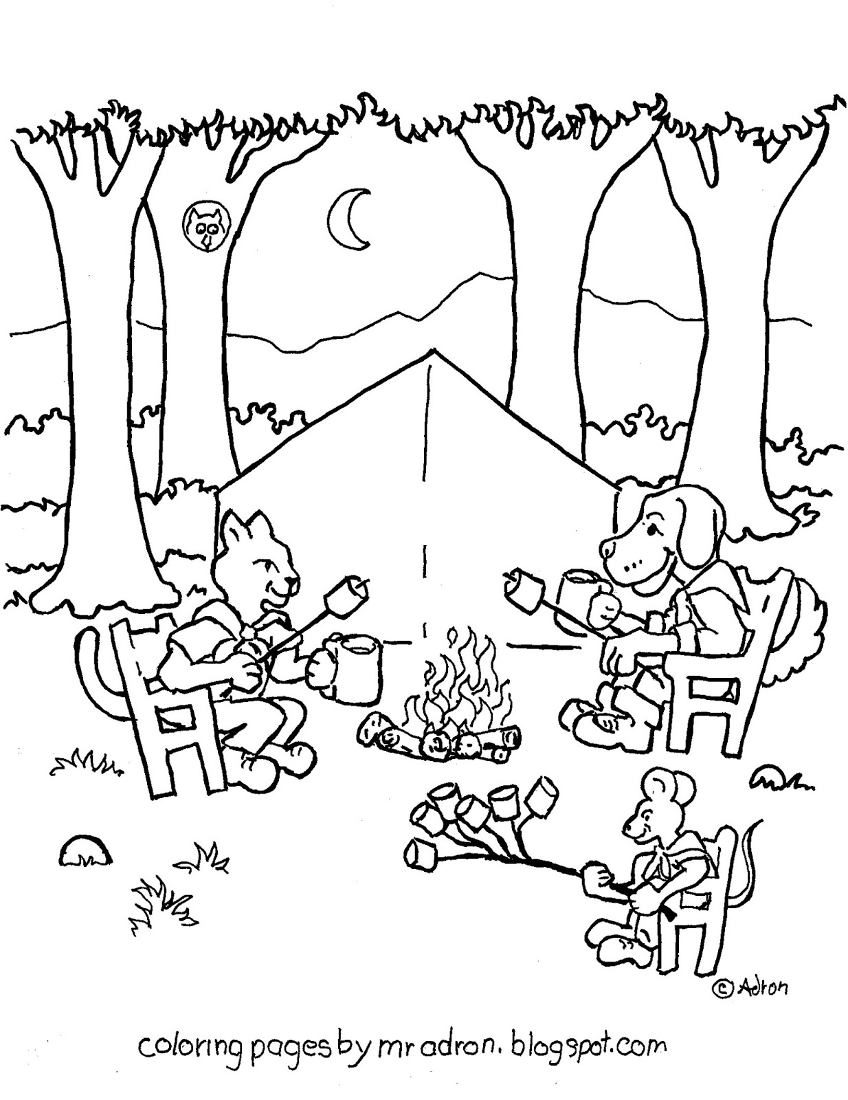 Coloring Pages For Kids By Mr Adron Animal Friends Camp And Roast Marshmallows Printable