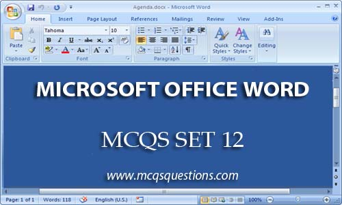 ms word mcqs set 12