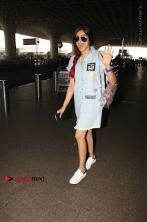 Bollywood Actress Model Adah Sharma Spotted at the Airport in a Denim Dress  0008.jpg