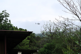 Helicopter watching bicycle race in Puriscal
