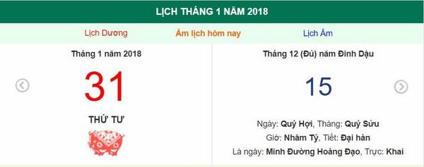 Xem ngày tốt xấu, giờ hoàng đạo - Xem lịch Thứ Tư ngày 31 tháng 1 năm 2018