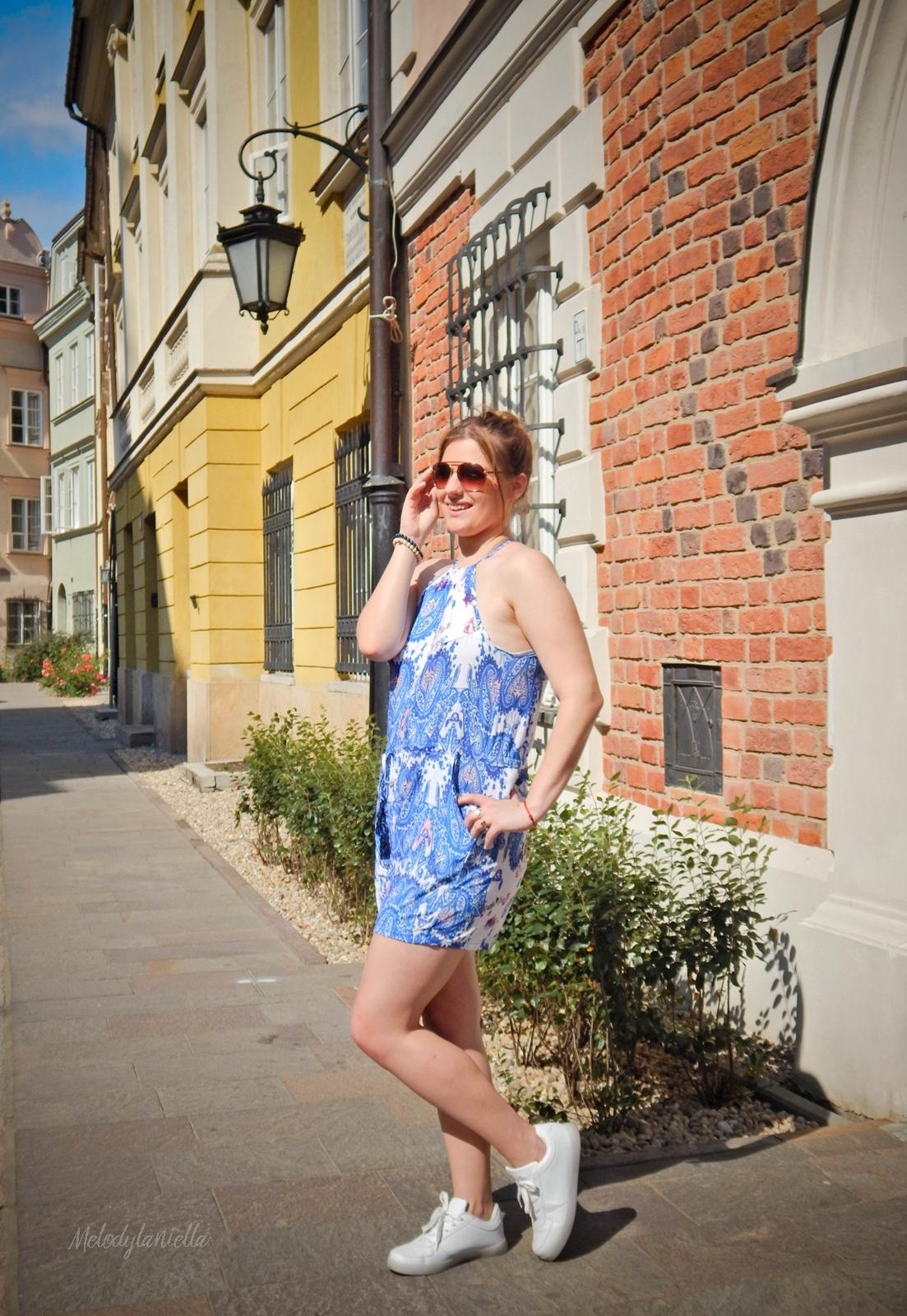 sammydress kombinezon w niebieskie wzory zakupy w chinskich sklepach warszawa sesja w warszawie melodylaniella lookbook street style