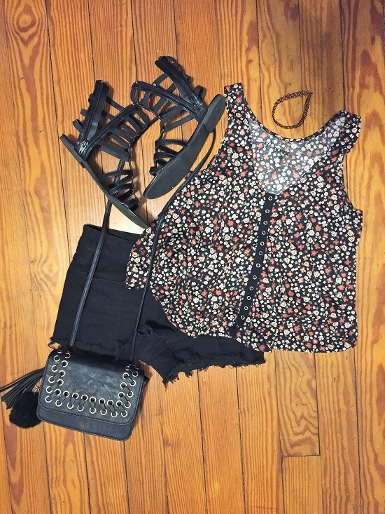 button-down floral tank top outfit of the day