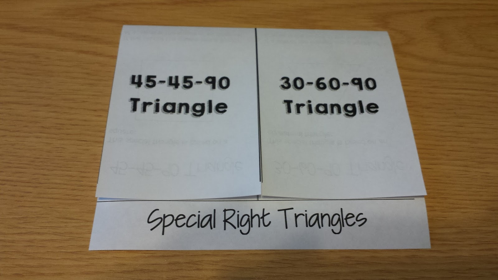 Teaching Statistics Special Right Triangles