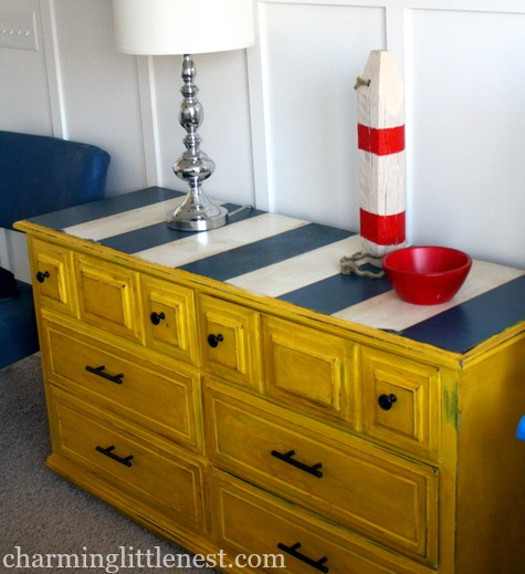 Nautical Dresser Makeover with Painted Blue and White Stripes