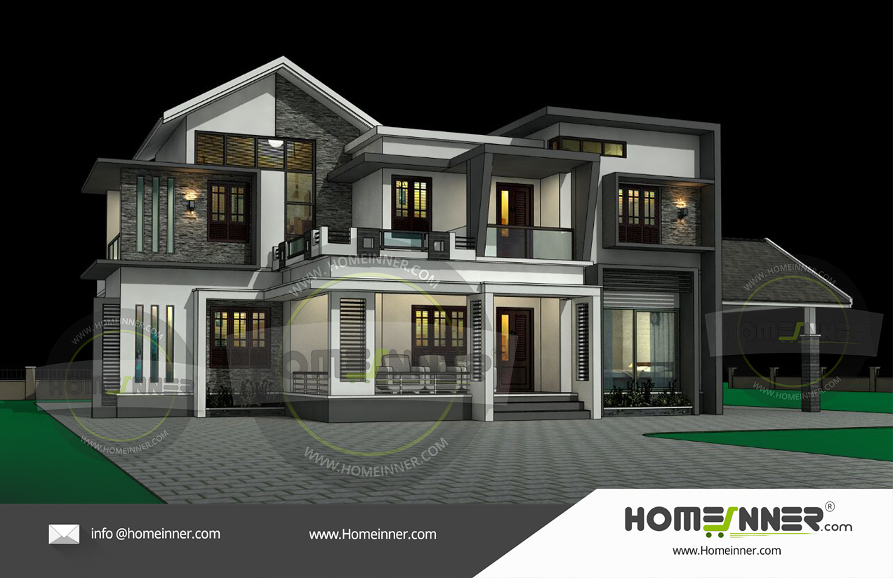 2700 sq ft Kerala style 3D exterior elevation