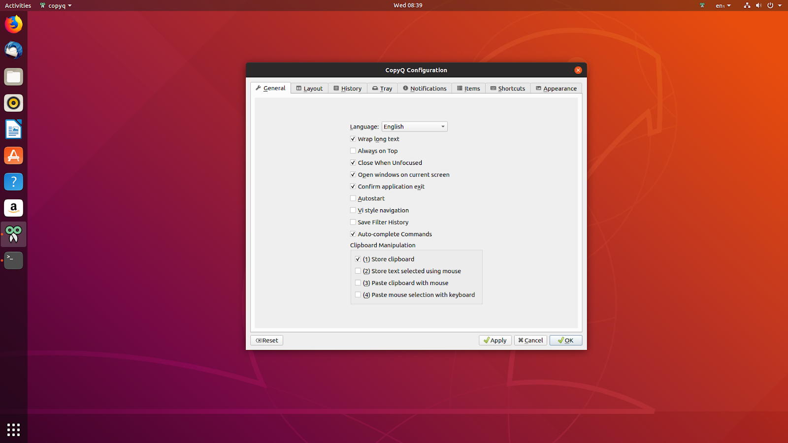 copy in ubuntu keyboard shortcut