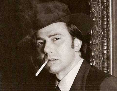 Silvio Berlusconi smoking a cigarette, black and white picture
