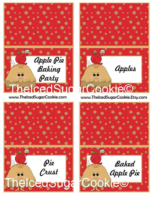 Apple Pie Baking Party Food Label Tent Cards-Printable Template DIY Cutout-Apple Pie Baking Party, Apples, Pie Crust, Baked Apple Pie-Fall or Thanksgiving Food Cards by The Iced Sugar Cookie