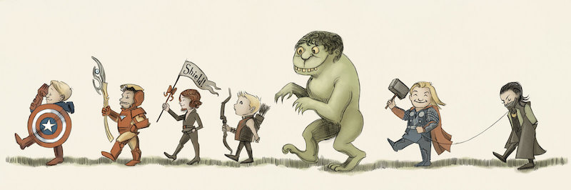 MCU versions of Captain America, Iron Man, Black Widow, Hawkeye, Hulk, Thor, and Loki marching in line, drawn in style of Maurice Sendak, evoking 'Where the Wild Things Are'