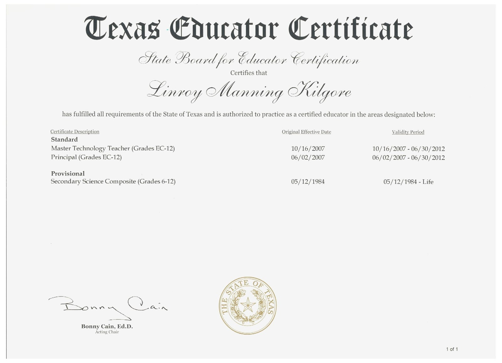 Examples Of Best Certificate Texas Teacher Certification Tr71
