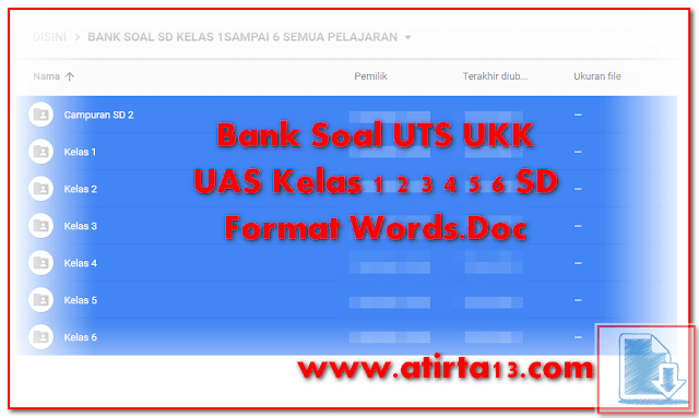 Bank Soal UTS UKK UAS Kelas 1 2 3 4 5 6 SD Format Words.Doc