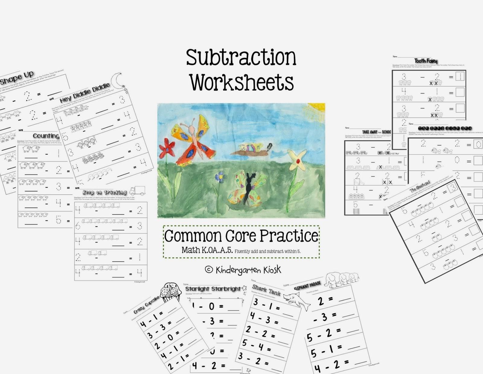 Kindergarten Kiosk Subtraction Worksheets