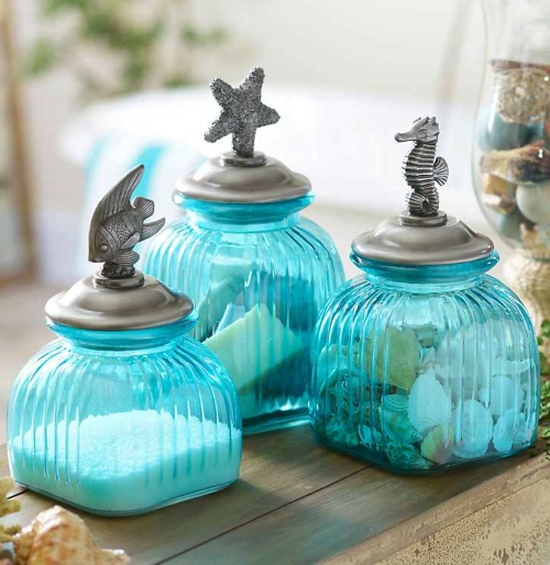 Blue Coastal Glass Jars Decorative Lid