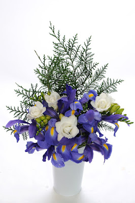 bouquet with Telstar Iris, Versailes Freesia and Port Orford Cedar