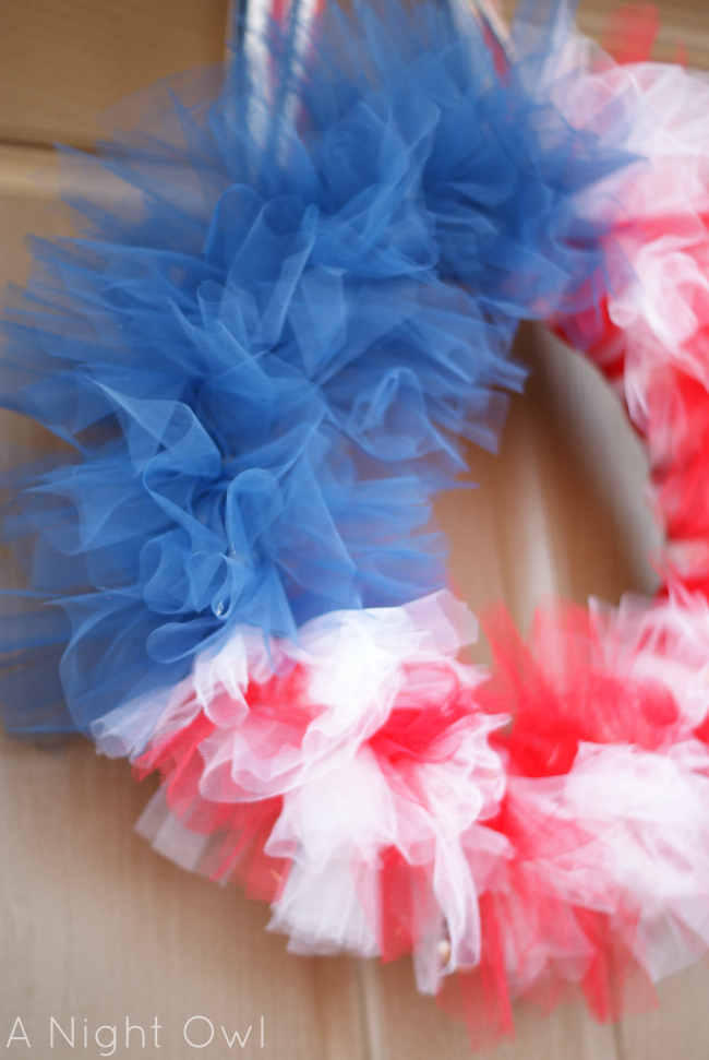 Patriotic Tulle Flag Wreath at A Night Owl