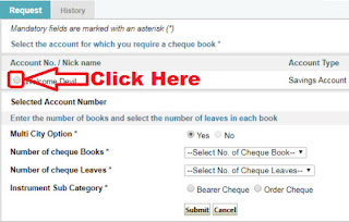 how to request sbi cheque book online