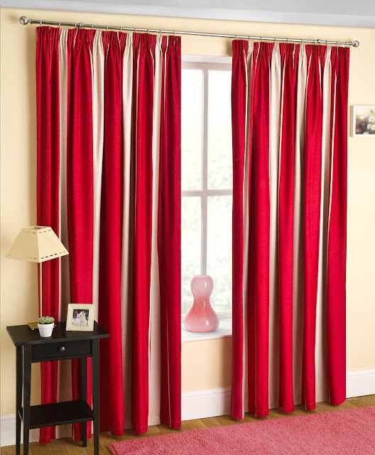 Beautiful red and white striped curtains