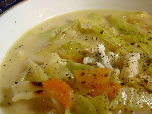 French Cabbage Soup with Blue Cheese and Cream