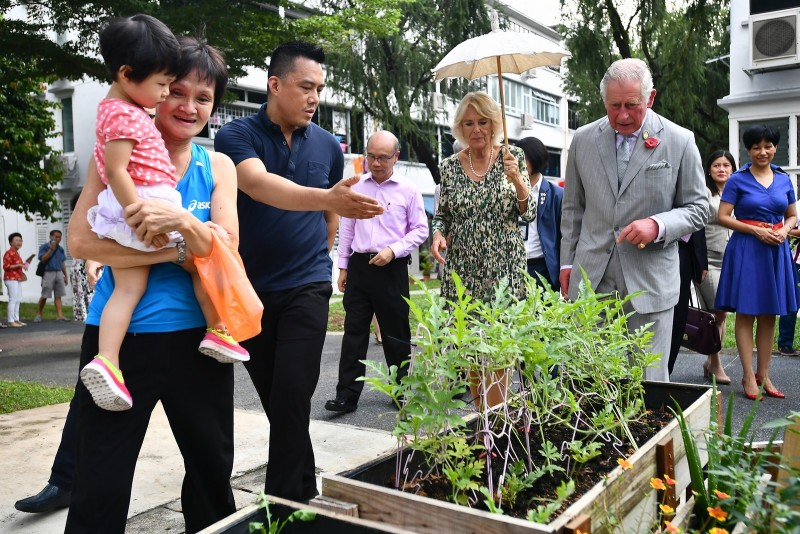 Prince Charles and Duchess Camilla at Tiong Bahru estate's herbal garden.