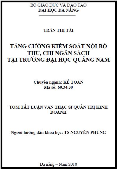 Tăng cường kiểm soát nội bộ thu, chi ngân sách tại trường Đại học Quảng Nam
