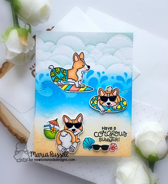 Summer Beach Corgi Dog Card by Maria Russell |  Corgi Beach Stamp Set, Sky Borders and Sea Borders Die Sets and Waves & Splashes Stencil by Newton's Nook Designs #newtonsnook #handmade