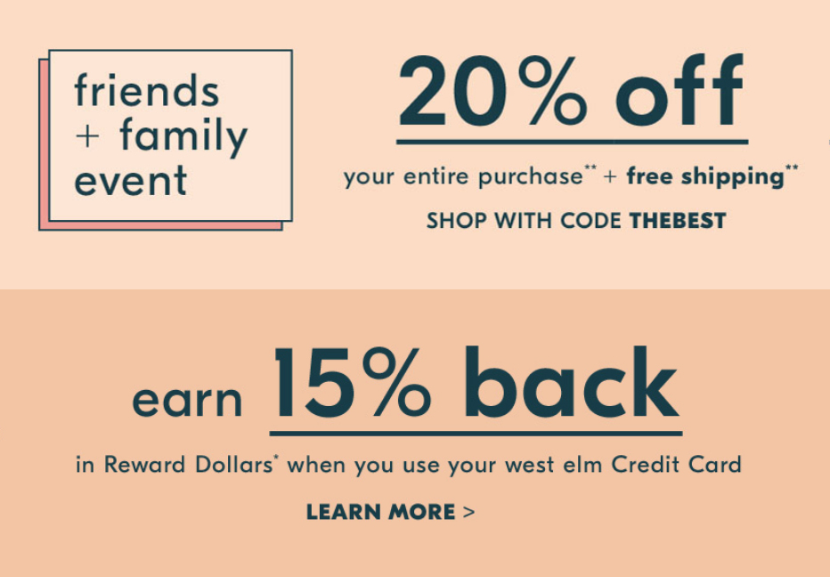 Take 20% off your West Elm order and other promotions to shop this weekend :: Effortlessly with Roxy