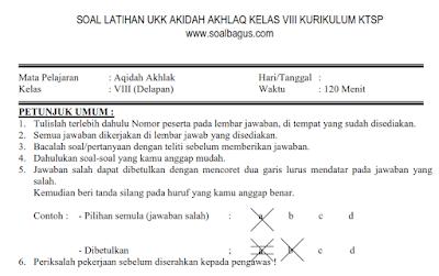 Download soal latihan ukk/ uas akidah akhlaq kelas 8 semester 2/ genap tahun 2017 sesuai ktsp plus kunci jawabannya www.soalbagus.com