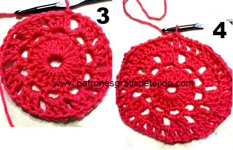 como tejer poncho con base redonda al crochet - hileras
