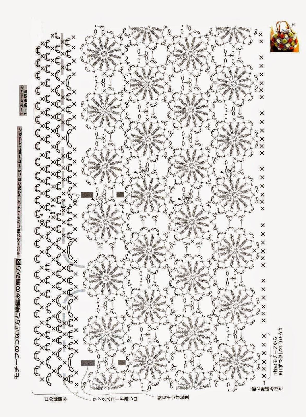 Bolso tejido al crochet - con esquemas   Crochet y Dos agujas ...