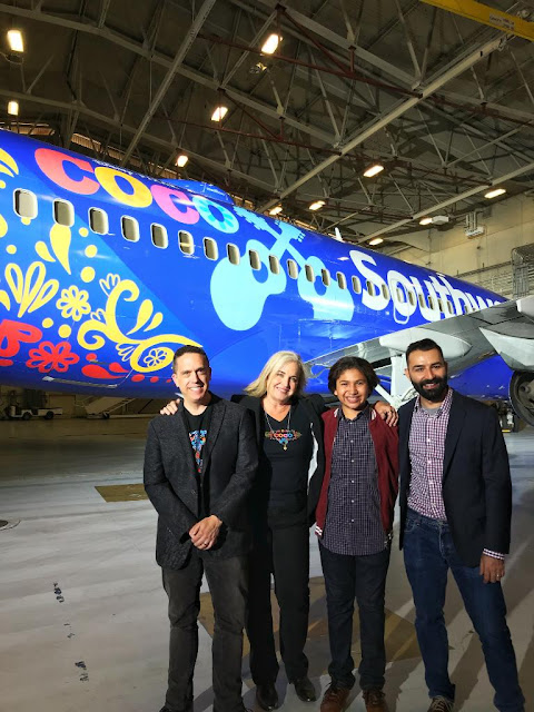 Lee Unkrich, Darla K. Anderson, Anthony Gonzalez and Adrian Molina at the Southwest Airlines Pixar Coco Press Event