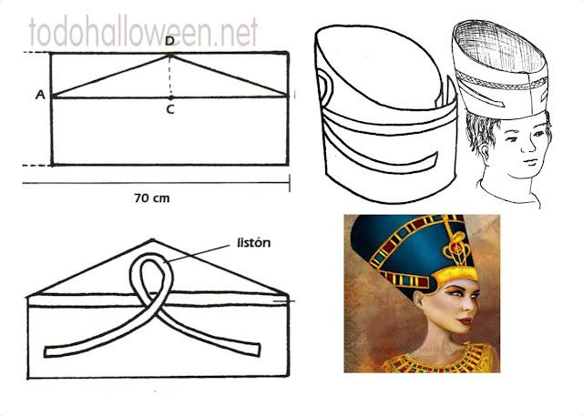 Como hacer el tocado de Nefertiti con moldes
