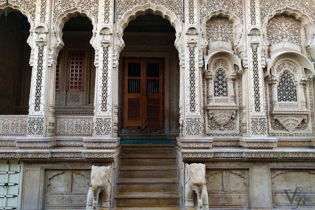 Traditionally crafted house facade in Jaisalmer