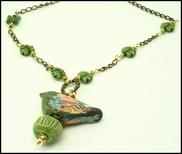 Green Bird Necklace by BayMoonDesign