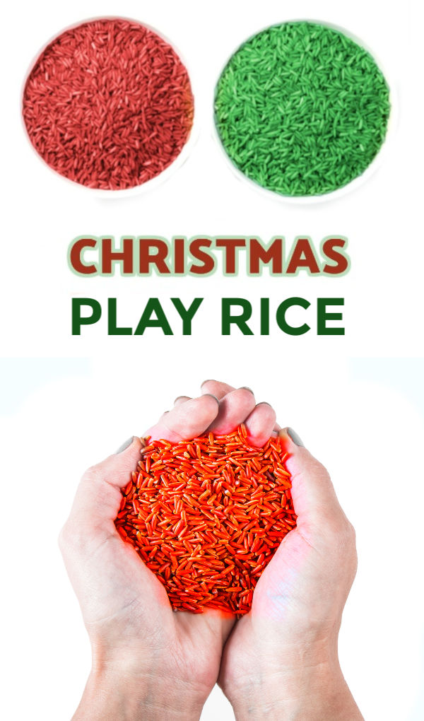 FUN KID PROJECT:  Make Christmas Rice!  Less messy than play sand & it smells just like Christmas! #howtomakecoloredrice #coloredricesensorybin #dyingrice #ricerecipesforkids #christmasplayideaschurch #christmascrafts #coloredrice