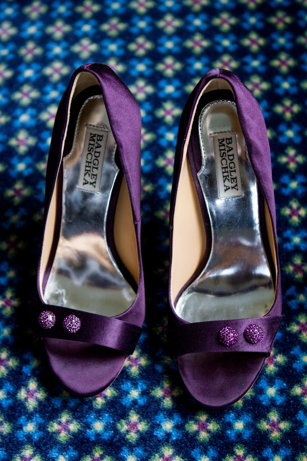 Wedding Shoes by Badgley Mischka - Banner Pumps in Plum Satin - Photo Courtesy of Brian Samuels Photography