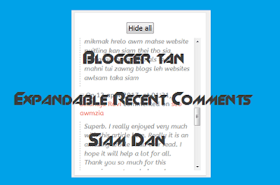 Blogger ah Expandable Recent Comments Widget Siam Dan