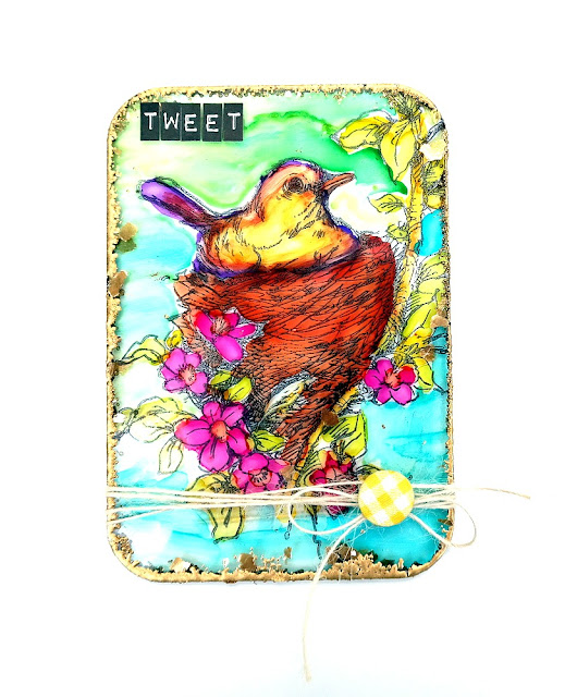 Tweet Bird In Next Acrylic Mixed Media Board by Dana Tatar for Tando Creative