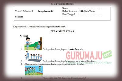 Soal PH / UH PJOK Kelas 1 Tema 5 Kurikulum 2013 Revisi