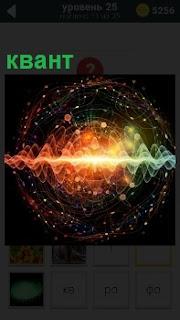 На картинке изображение разряда небольшой порции энергии - квант, в разноцветной форме