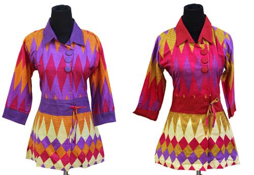 15 Contoh Gambar Model Baju Batik Kain Rangrang Tenun 2017