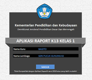 Aplikasi Raport K13 SD Per Sub Tema Semester 1 Revisi 2018
