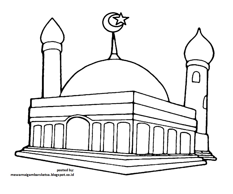 Mewarnai Gambar Mewarnai Gambar Sketsa Masjid 4