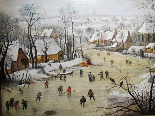 Paesaggio invernale con pattinatori e trappola per uccelli - Pieter Bruegel il Vecchio