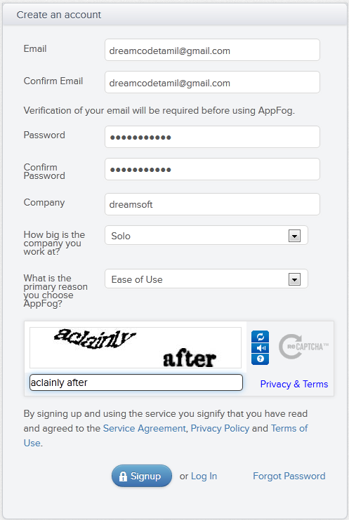 Signing Up for Appfog