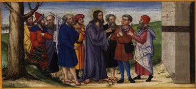 """""""Jesus cura um homem cego em Jericó"""" (circa 1530-1532): pintura de Matthias Gerung (1500–1570) que integra o acervo digital de de Ottheinrich-Bibel, Bayerische Staatsbibliothek."""