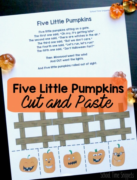 Five Little Pumpkins Cutting Practice Printable