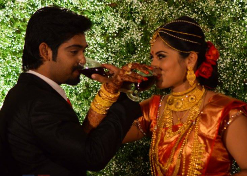 Sruthi Lekshmi and Avin Anto during their wedding reception